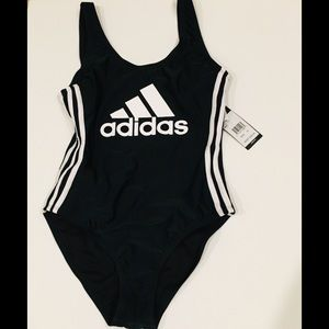 Adidas low scooped back 3 stripes black swimsuit